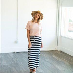 Dresses & Skirts - Wren & Ivory Striped Maxi Skirt in Navy